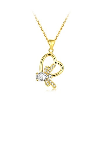 Glamorousky white Fashion Simple Plated Gold Heart Pendant with Austrian Element Crystal and Necklace D8BE1ACC067343GS_1