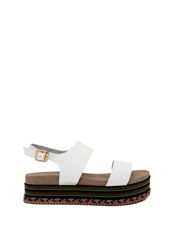 London Rag white White Double Strap Platform Sandals 61316SH206C98FGS_1