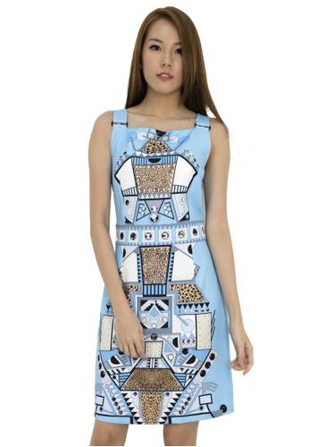 MOONRIVER blue Adlina Printed Shift Dress MO886AA85RUSSG_1