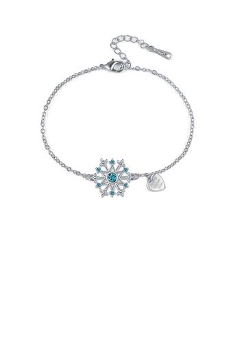 Glamorousky white Fashion Snowflake Heart Bracelet with Blue Austrian Element Crystal FE025AC068F61AGS_1