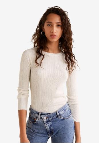 Mango white Ribbed Fine-Knit Sweater 32E10AA4F8B3EDGS_1