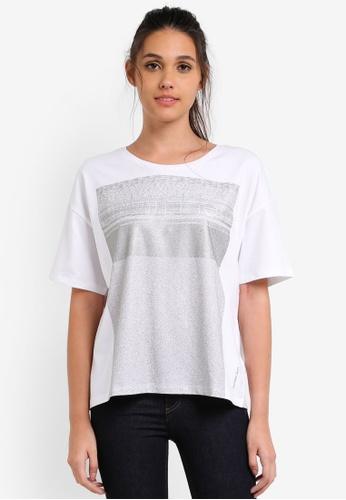Calvin Klein white Tecara Crew Neck Short Sleeve Top - Calvin Klein Jeans CA221AA0RWUDMY_1