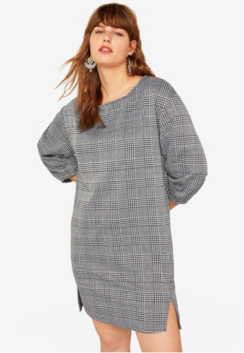 Violeta by MANGO grey Plus Size Prince Of Wales Dress 1ABF1AAF3E0F55GS_1