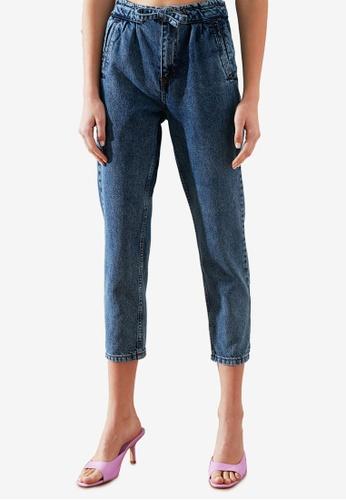 Trendyol 藍色 High 腰圍 腰帶 Mom 牛仔褲 FF028AAE0FDFA5GS_1