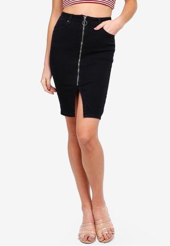 Supre black Cher Zip Through Pencil Skirt 3E2AFAA2EBCAA0GS_1