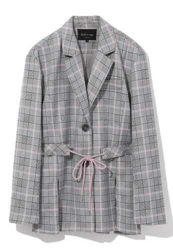 tout à coup grey Tie waist checked blazer EE175AA28908ABGS_1