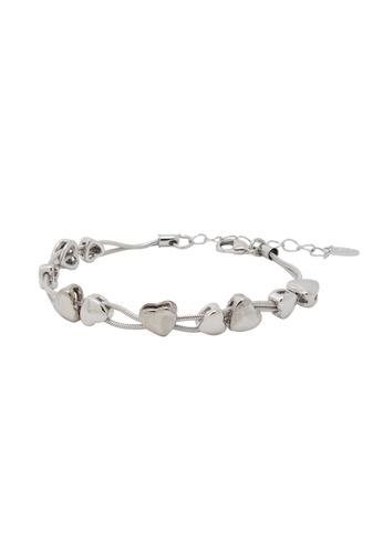 Jaysa Collection silver Palladium Heart Strings Bracelet JA875AC0FNVXSG_1