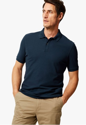 MARKS & SPENCER navy Pure Cotton Polo Shirt 0DD60AA82AD350GS_1