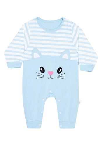 MICK + MARTY blue Cat Design Onesie 9E9A1KA9A7DD63GS_1