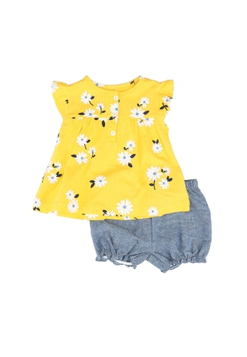 Milliot & Co. yellow Andre Girls Top & Bottom Set 36BCAKA0BB0144GS_1