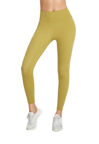 B-Code yellow ZWG1115a-Lady Quick Drying Running Fitness Yoga Leggings-Yellow 29856AAAF96DDEGS_1