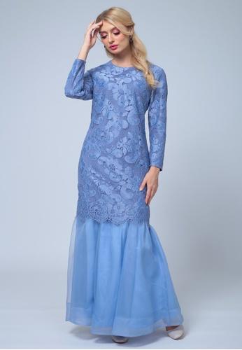 Emanuel Femme blue EMANUEL Organza Mini Kurung C2420AA3C82896GS_1