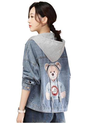 A-IN GIRLS grey and blue Cute Bear Print Denim Hooded Jacket 9B637AA999CF81GS_1