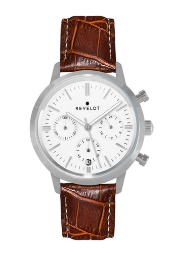 REVELOT white R4 CHRONO - WHITE/SILVER WITH 20MM BROWN BAMBOO LEATHER 73060AC9755706GS_1