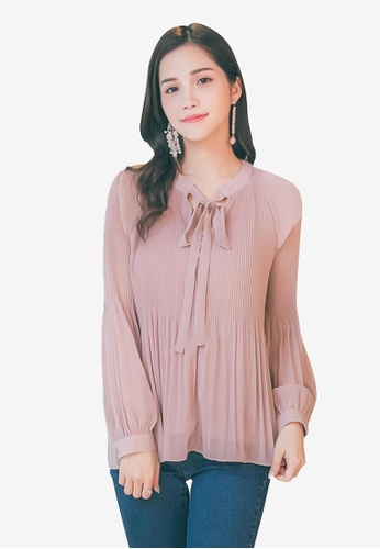 YOCO pink Ribbon Detailed Long Sleeve Blouse 3A533AAE88156FGS_1