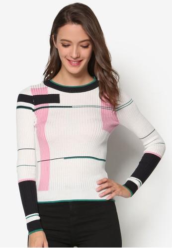 色塊條紋長袖上衣, 服esprit 品牌飾, 服飾
