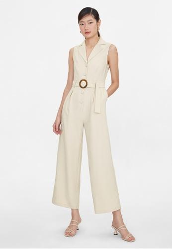 Pomelo beige Sleeveless Button Up Buckle Belt Jumpsuit - Cream AAB05AA758029DGS_1