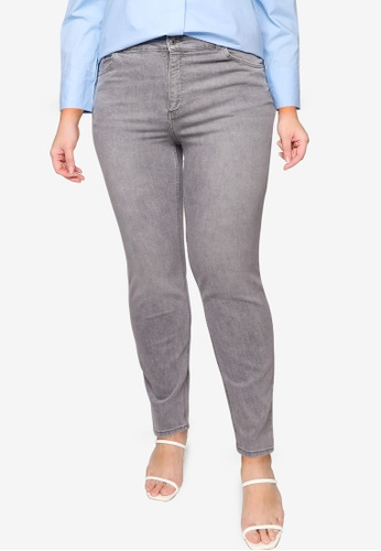 Violeta by MANGO grey Plus Size Slim-Fit Grey Jeans 41981AA000BD66GS_1
