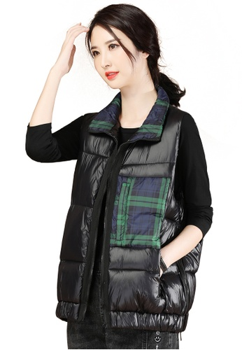 A-IN GIRLS black Fashion Check Vest Cotton Jacket 62B7DAA59171F5GS_1