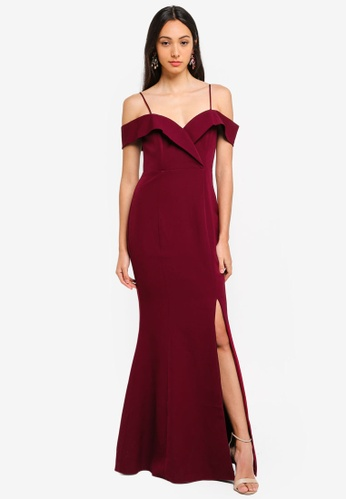 Forever New red Sara Off Shoulder Gown 834B1AAFFD37EBGS_1