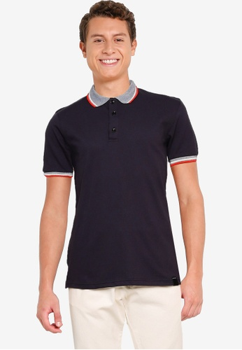 UniqTee black Polo Shirt with Collar and Cuff 44C59AA0C7B042GS_1