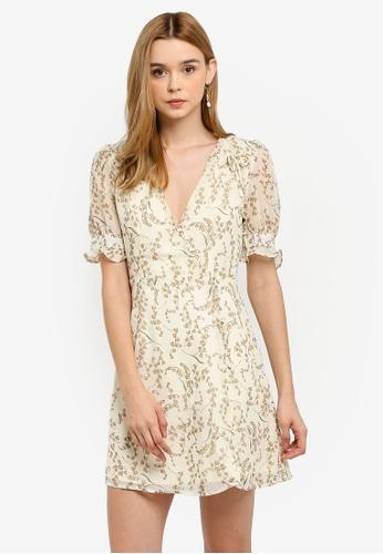 1bd4a1194d6d INDIKAH white Button Front Short Puff Sleeve Skater Dress 18622AAC532D0AGS 1