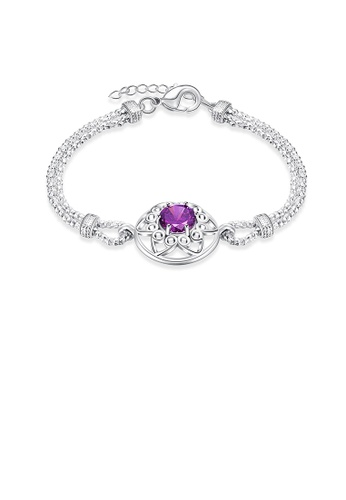 Glamorousky purple Fashion Hollow Hexagonal Star Cubic Zirconia Bracelet 82F1AACFB573D6GS_1