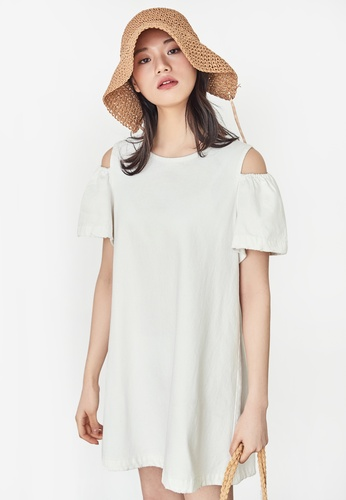 NAIN white Cold Shoulder Dress BCB11AA29C4C52GS_1