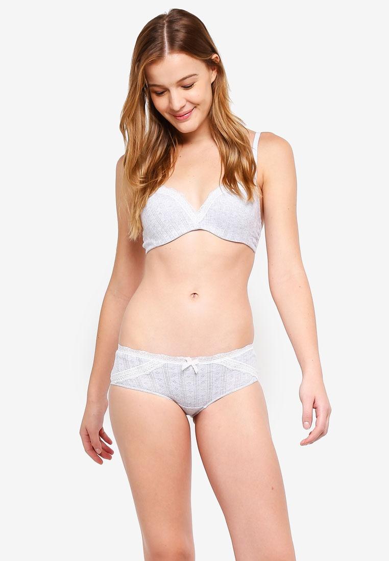 Grey Bra Lace Cotton Trim 6IXTY8IGHT Pointelle Underwired FwzxAq