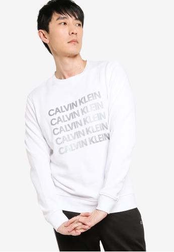 Calvin Klein white Graphic Pullover Sweater E3E5FAA4813872GS_1