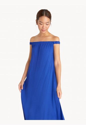 Pomelo blue Maxi Off Shoulder Dress - Blue F42BBAA52E3A19GS_1