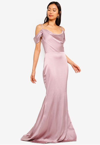 MISSGUIDED pink Satin Cold Shoulder Maxi Dress With Train 7FB4DAA124F7BBGS_1