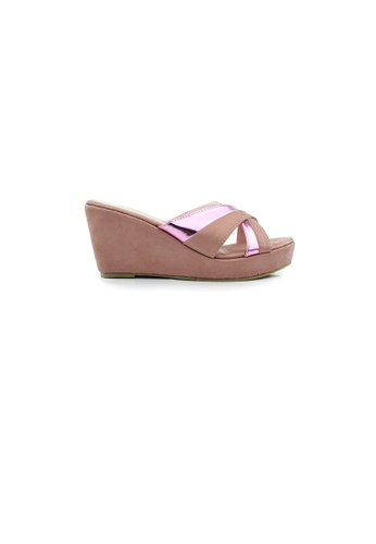 SHINE pink Criss-cross Slip On Ribbon Wedges SH554SH0HB9CSG_1