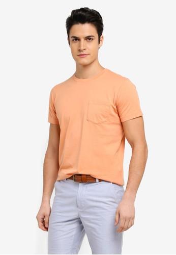 Brooks Brothers orange Red Fleece Garment Dyed Tee 097ADAA07C45ECGS_1