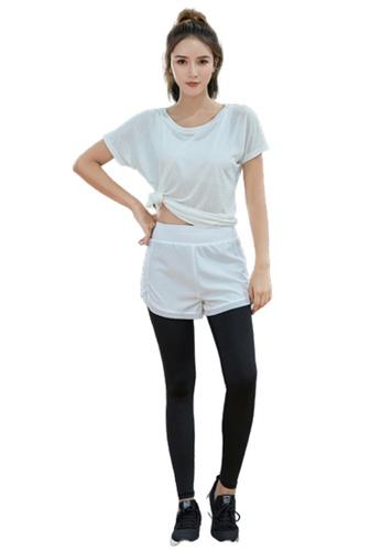 B-Code white ZYG3091-Lady Quick Drying Running Fitness Yoga Sports Leggings -White ADBF4AAC837C42GS_1