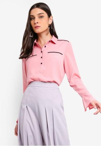 ZALORA 粉紅色 Trumpet Sleeves Shirt F822CAA5BAB6B7GS_1