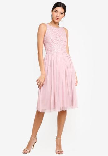 Little Mistress pink Pink Embroidered Midi Dress 96072AA201244DGS_1