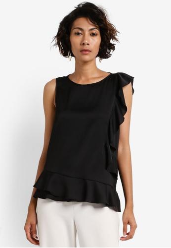 Dorothy Perkins black Black Satin Ruffle Shell Top DO816AA0RCGJMY_1