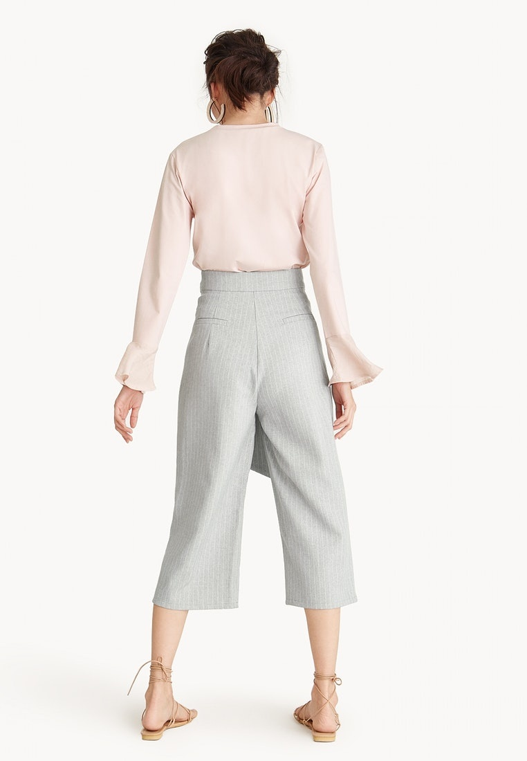 Light Culottes Pomelo Light Wrap Gray Striped Grey Waist qwcI7H6