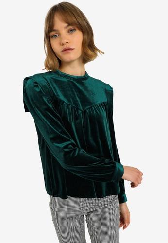 PIMKIE green Velvet Blouse A5365AA22723B0GS_1