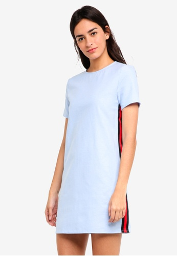 ZALORA blue Shift Dress With Side Stripe 422E6AACCB8DFBGS_1
