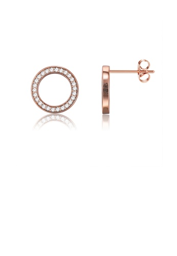 Glamorousky white 925 Sterling Silver Simple Plated Rose Gold Round Earrings with Austrian Element Crystal E7F68ACD753C79GS_1