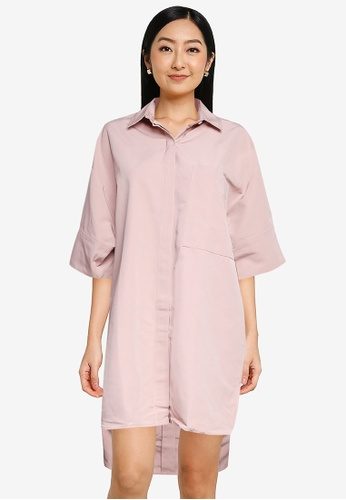 The Duo pink Structural Shirt Dress 40F26AA4DFBE63GS_1
