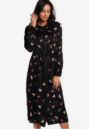 WAREHOUSE black Woodstock Crinkle Shirt Dress WA653AA54JTXMY_1