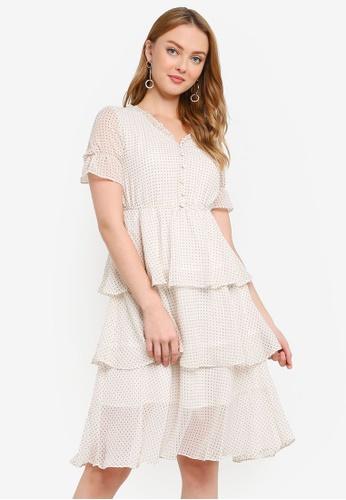 Hopeshow white Polka Dot Chiffon Midi Dress with Frills 0DFE6AAFF31061GS_1