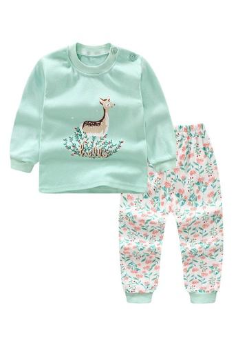 Yangkiddo green Hello Deer Baby Kids Unisex Pyjamas 8CE64KA4887506GS_1