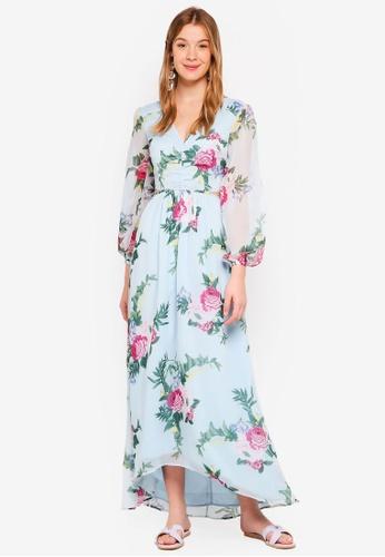 Miss Selfridge blue Blue Floral Print Cut Out Maxi Dress 289AFAA56BD43FGS_1
