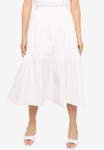 Urban Revivo white A-Line Long Skirt 4941BAA00E9CE7GS_1