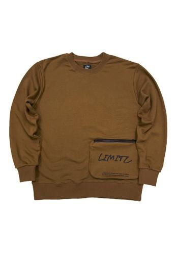 L.I.M.I.T.E brown Men's Sweat Shirt with Zipper Pocket 9893DAAFC7D195GS_1