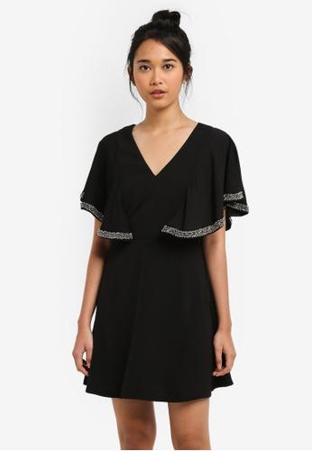 Something Borrowed black Embellished Angel Sleeve Dress A9488AA1963355GS_1